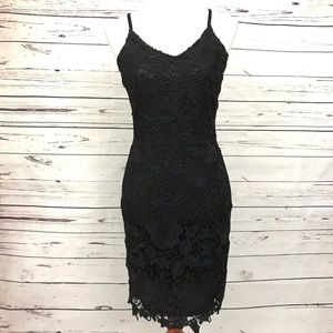 Ya LA Body Con Black Lace Dress Size Medium